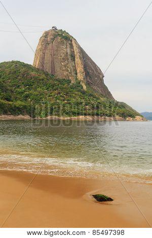 Mountain Sugarloaf Red Beach (praia Vermelha) Empty Sea Sand In Rainy Day, Rio De Janeiro