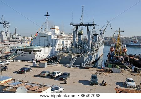 Russian Military Ships At Berth In Sevastopol