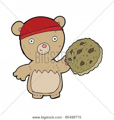 cartoon teddy bear with cookie