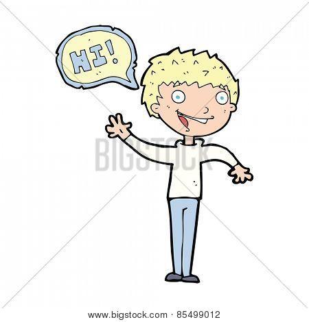 cartoon boy saying hi