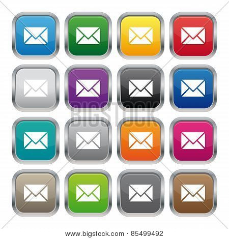 Contact Us Metallic Square Buttons