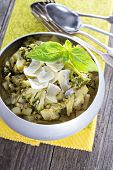 foto of stew  - Stewed potato and broccoli with shaved parmesan - JPG