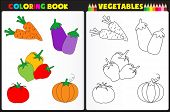 stock photo of sketch book  - Nature coloring book page for preschool children with colorful vegetables and sketches to color - JPG