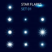 foto of sparking  - Set of different glowing star flares and magic sparks - JPG