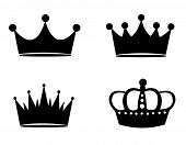 image of crown  - Illustration of black crown silhouettes isolated on white background - JPG