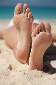 stock photo of playa del carmen  - Relaxing on a beach - JPG