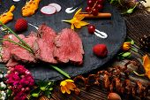 pic of ducks  - slices of duck fried meat in fancy food arrangement - JPG