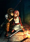 foto of dungeon  - Fantasy illustration of a modern sniper kissing a cute warrior girl in dark dungeon - JPG