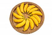 picture of festering  - Ripe bananas on a bamboo tray stock photo - JPG