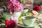 picture of opulence  - Cup of tea and teapot with the sun between flowers and colors in spring Italian