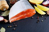 image of salmon steak  - Salmon steak on slate - JPG