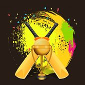 foto of cricket bat  - Glossy golden winning trophy with bat on colorful splash background for Cricket concept - JPG