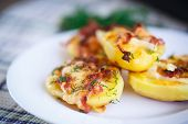 foto of baked potato  - potatoes baked with bacon cheese and dill - JPG