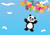 foto of panda  - Flying Panda with balloons - JPG
