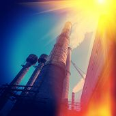 stock photo of iron ore  - industrial supporting facilities iron ore mining daylight - JPG