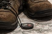 stock photo of boot camp  - preparation for mountain trips two trecking boots  - JPG