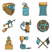 picture of paintball  - Set of flat color vector icons with black line contour for paintball and airsoft equipment and outfit on white background - JPG