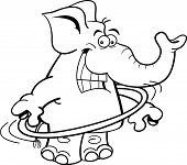 stock photo of hula hoop  - Black and white illustration of an elephant using a hula hoop - JPG
