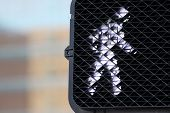 stock photo of pedestrian crossing  - Pedestrian signal that shows you can walk - JPG