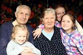 picture of granddaughters  - family portrait with granddaughters and grandparents at home - JPG