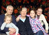 image of granddaughter  - family portrait with granddaughters and grandparents at home - JPG