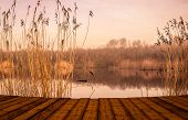 pic of pier a lake  - Colourful lake landscape with a wooden pier - JPG