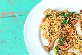 image of stir fry  - Stir fried noodle spicy in pork on table  - JPG