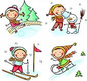 stock photo of toboggan  - Happy kids winter outdoors activities - JPG