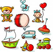 stock photo of drum-set  - Set of colorful cartoon toys - JPG
