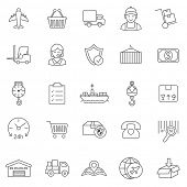 stock photo of logistics  - Logistic line icons set - JPG