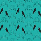 picture of raven  - black raven seamless pattern contour drawing silhouette on a turquoise background - JPG