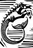 stock photo of poseidon  - Woodcut style image of Greek mythological seahorse the hippocampus - JPG