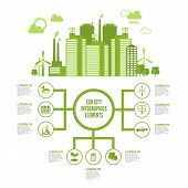 picture of ecosystem  - Eco town infographic set with green ecosystem elements and arrows vector illustration - JPG
