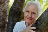 stock photo of stroll  - Portrait of the smiling elderly woman outdoor - JPG