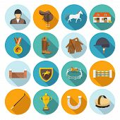 stock photo of trophy  - Jockey flat icons set with trophy rider derby champion isolated vector illustration - JPG