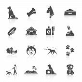foto of petting  - Pet icons set with dog walking running guard isolated vector illustration - JPG