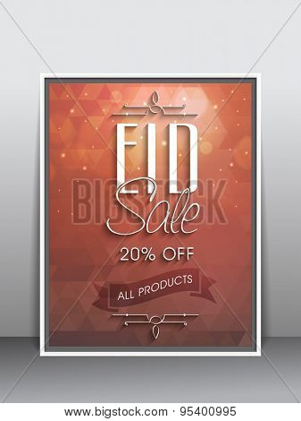 Stylish sale flyer, poster or template with discount offer on all products for muslim community festival, Eid celebration.
