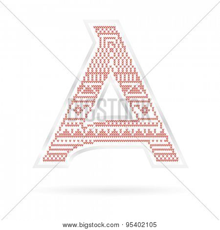 Label with Red knitted Letter A