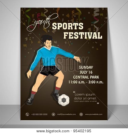 Youth sport festival flyer with a boy playing soccer with address bar, place holder and mailer.