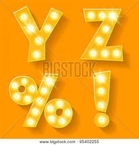 Vector yellow lamp alphabet for theatre, cinema and other entertainment. Letters Y Z and symbols
