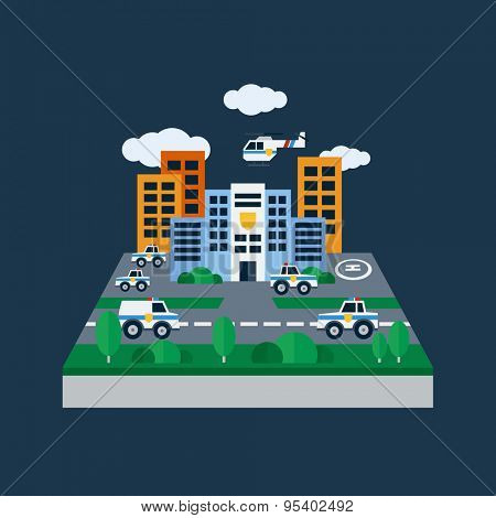Concept illustration with icons of police station and police cars. Flat design vector