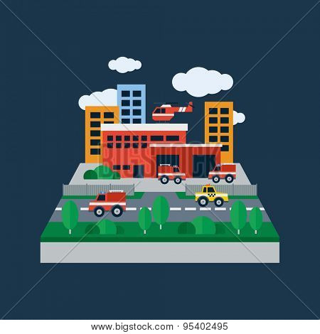 Concept illustration with icons of fire station and fire fighting equipment. Flat design vector