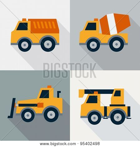 Set of construction machinery. Flat design style. Vector illustration
