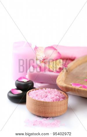 Beautiful composition of spa treatment, isolated on white
