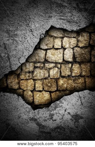 cracked wall with stone background