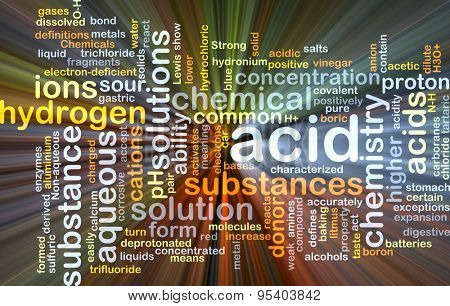 Background concept wordcloud illustration of acid glowing light