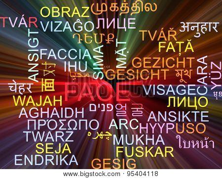 Background concept wordcloud multilanguage international many language illustration of face glowing light