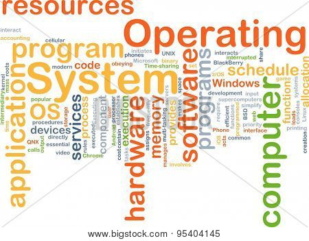 Background concept wordcloud illustration of operating system OS