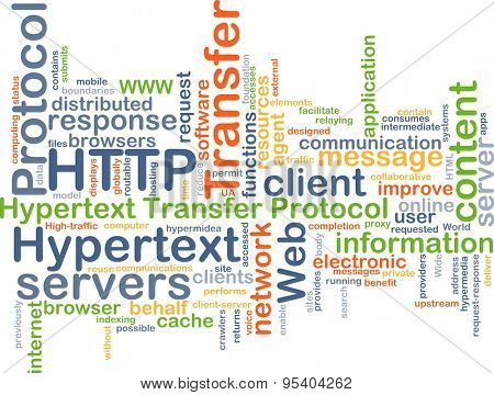 Background concept wordcloud illustration of hypertext transfer protocol HTTP