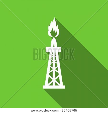 gas flat icon oil sign original modern design green flat icon for web and mobile app with long shadow